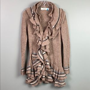 Anthro Sparrow Ruffled Open Cardigan  XS